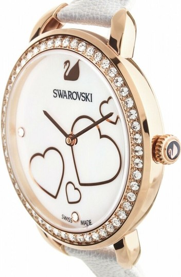 Swarovski NEW SWAROVSKI (5242514) AILA DAY HEART MOP WHITE LEATHER STRAP CRYSTAL Image 2