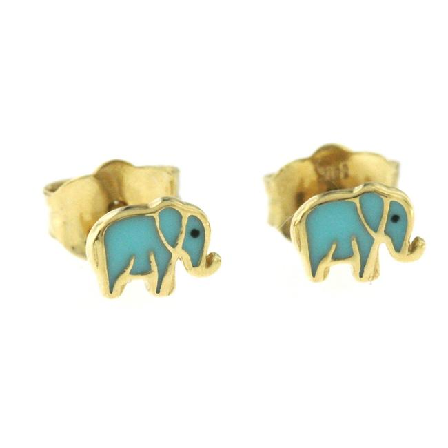 Item - Yellow Gold 14k Mini Elephant Enamel Stud Earrings