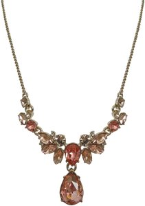 Givenchy Pink Peach Swarovski Crystal Drop Pendant Gold Tone Chain Necklace