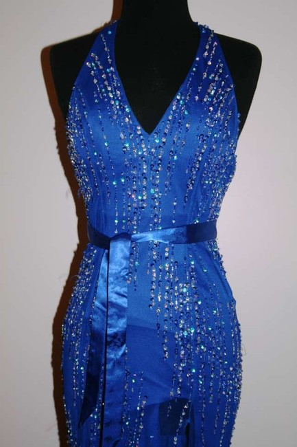 Riva Designs Blue Prom Pageant Pageant Gowns Blue Gowns Sequin Sequined Gowns Halter Gowns Dress