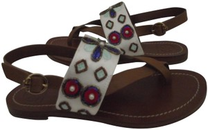Tory Burch Flat Size 7.5 White/Multi Sandals