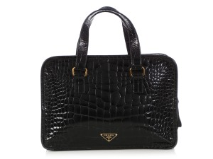 Prada Pr.q0403.03 Crocodile Embossed Gold Hardware Tote in Black