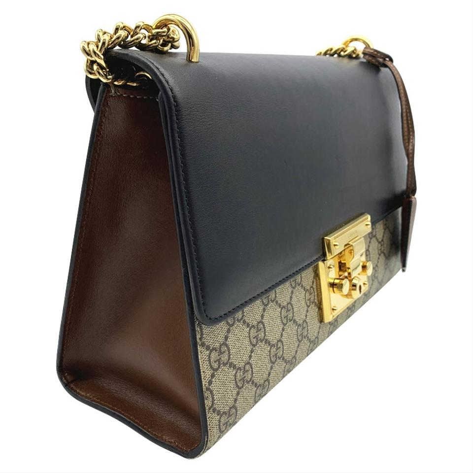 df103323e16ef2 Gucci Padlock Gg Supreme Monogram Medium Black Leather Shoulder Bag -  Tradesy