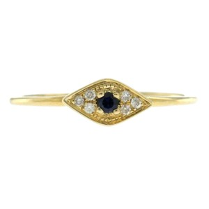 Sydney Evan Auth Sydney Evan 14k Yellow Diamond Blue Sapphire Evil Eye Ring Size 6