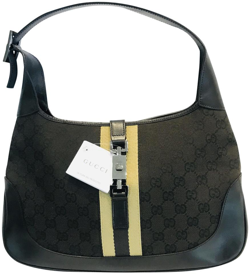 b98e1b34 Gucci Jackie Hobo Monogram Web O Brown Canvas Shoulder Bag - Tradesy