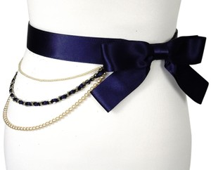 """Chanel Black leather Blue Satin Pearl Ribbon Silver Charms Butterfly Belt 36"""""""