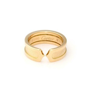 Cartier Double C 18k YGold 6.5mm Cuff Band Ring Size 50-US 5.5 w/Cert