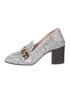 Gucci Glitter Loafer Marmont Gg Silver Pumps