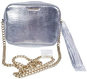 Victoria's Secret Embossed Faux Leather Gold Hardware Chain Cross Body Bag