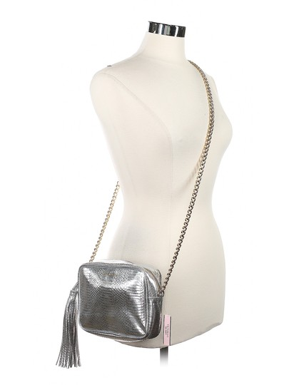 Victoria's Secret Embossed Faux Leather Gold Hardware Chain Cross Body Bag Image 10