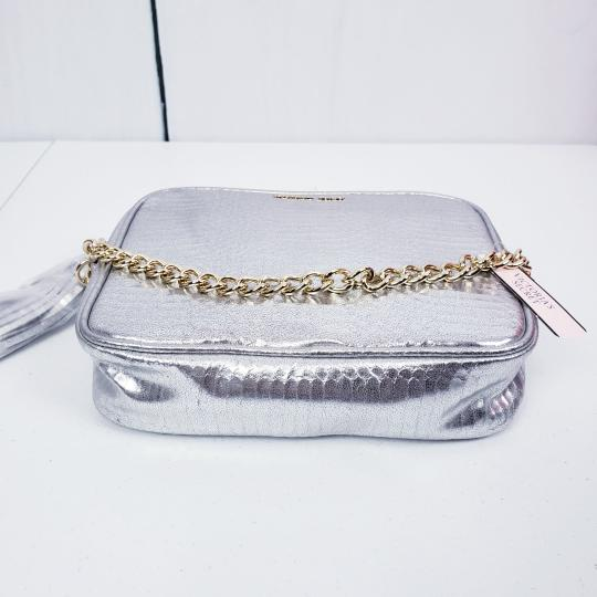 Victoria's Secret Embossed Faux Leather Gold Hardware Chain Cross Body Bag Image 3