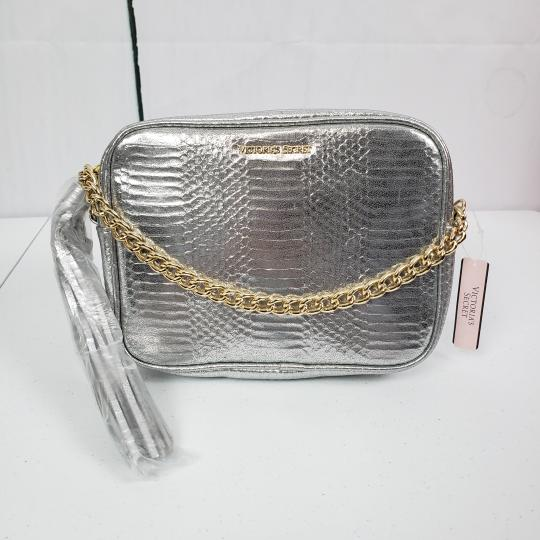 Victoria's Secret Embossed Faux Leather Gold Hardware Chain Cross Body Bag Image 8