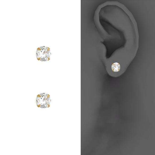 Top Gold & Diamond Jewelry 14k Yellow Stamping Prong with Screw Back Birth Stone Stud - April Image 2