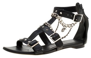 Alexander McQueen Spike Embellished Leather Chain Detail Black Flats