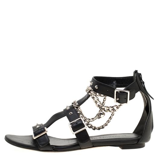 Alexander McQueen Spike Embellished Leather Chain Detail Black Flats Image 1