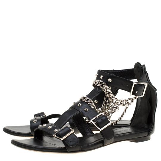 Alexander McQueen Spike Embellished Leather Chain Detail Black Flats Image 3