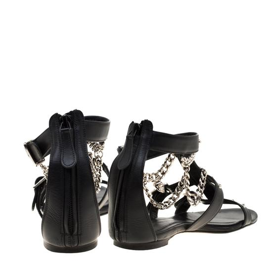 Alexander McQueen Spike Embellished Leather Chain Detail Black Flats Image 4