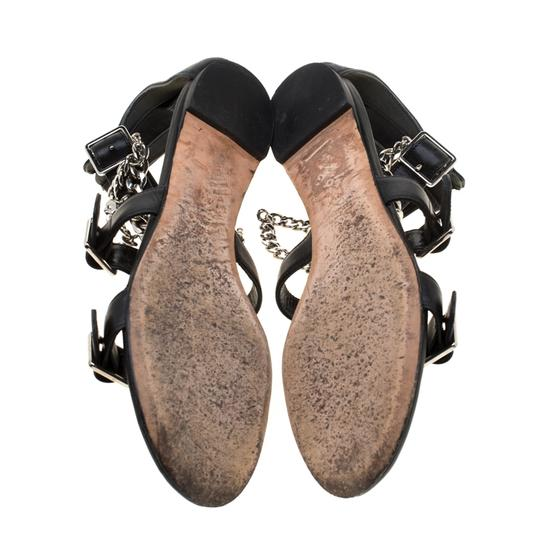 Alexander McQueen Spike Embellished Leather Chain Detail Black Flats Image 5