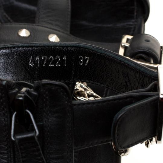Alexander McQueen Spike Embellished Leather Chain Detail Black Flats Image 7