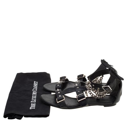 Alexander McQueen Spike Embellished Leather Chain Detail Black Flats Image 8