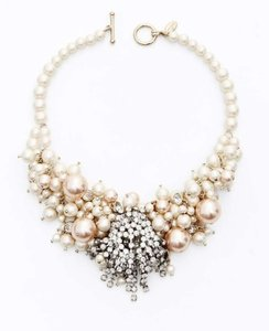 Ann Taylor Cream and Silver Large Pearlized Bead Crystal Statement Necklace