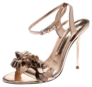 Sophia Webster Rose Gold Leather Floral Embellished Ankle Metallic Sandals