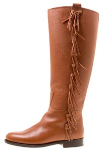 Valentino Leather Detail Brown Boots
