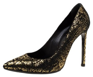 Saint Laurent Textured Suede Pointed Toe Leather Metallic Pumps