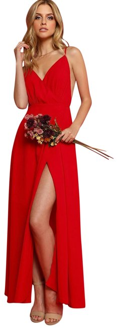 Item - Red High Split Backless Wrap Prom Cami Long Casual Maxi Dress Size 8 (M)