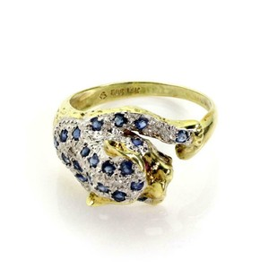 Other Estate Sapphire & Diamond 14k Yellow Gold Panther Ring
