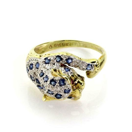 Preload https://img-static.tradesy.com/item/25377394/60046-estate-sapphire-and-diamond-14k-yellow-gold-panther-ring-0-0-540-540.jpg