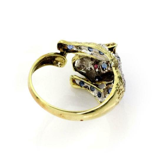 Other Estate Sapphire & Diamond 14k Yellow Gold Panther Ring Image 2