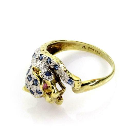 Other Estate Sapphire & Diamond 14k Yellow Gold Panther Ring Image 3