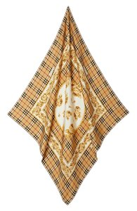 Burberry Check & Roses Square Silk Scarf