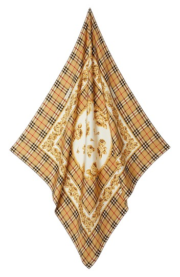 Preload https://img-static.tradesy.com/item/25377418/burberry-tan-with-tag-check-roses-square-silk-scarfwrap-0-2-540-540.jpg