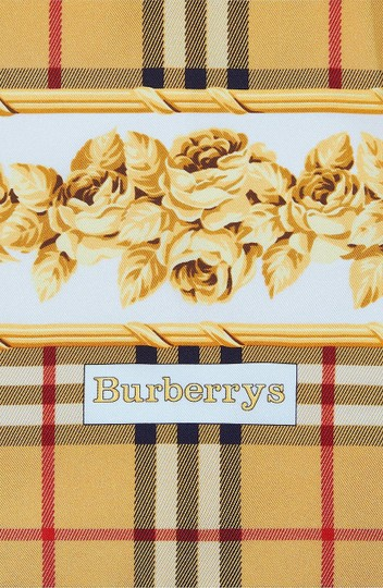 Burberry Check & Roses Square Silk Scarf Image 1