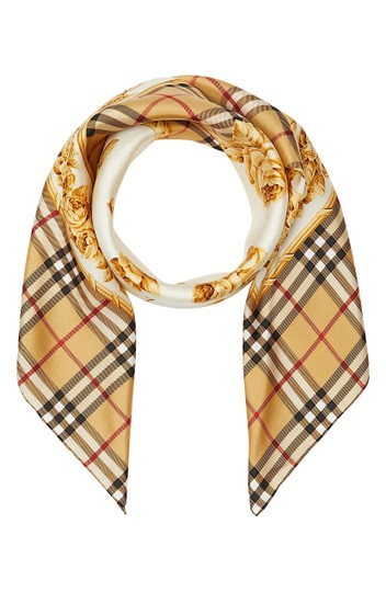 Burberry Check & Roses Square Silk Scarf Image 3