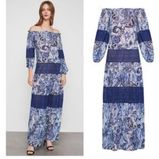 Item - Blue Paisley Print Gown Maxi Long Night Out Dress Size 2 (XS)