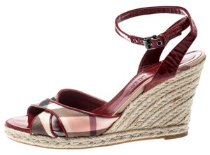 Burberry Patent Leather Canvas Espadrille Red Sandals