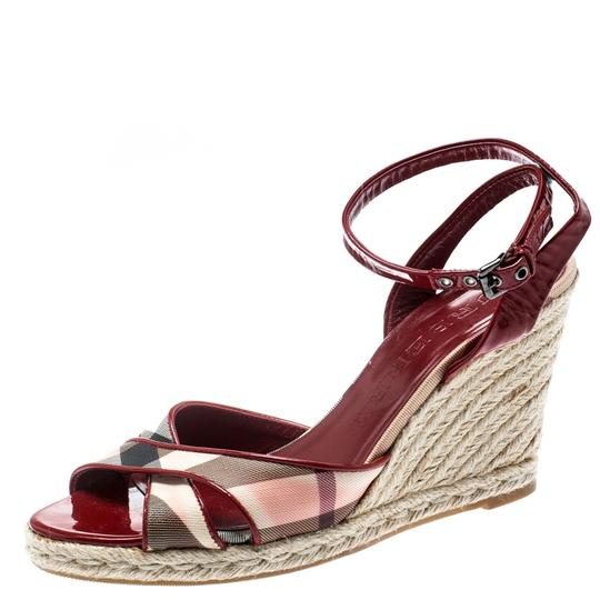 Burberry Patent Leather Canvas Espadrille Red Sandals Image 1