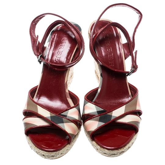 Burberry Patent Leather Canvas Espadrille Red Sandals Image 2