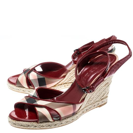 Burberry Patent Leather Canvas Espadrille Red Sandals Image 3