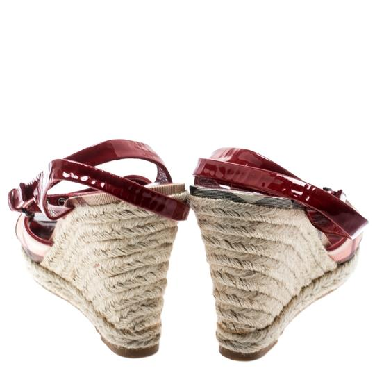 Burberry Patent Leather Canvas Espadrille Red Sandals Image 4