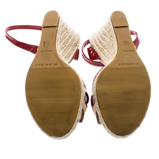 Burberry Patent Leather Canvas Espadrille Red Sandals Image 5