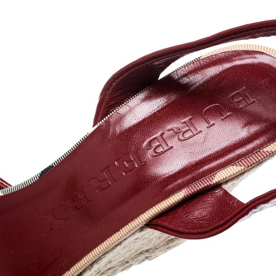 Burberry Patent Leather Canvas Espadrille Red Sandals Image 6