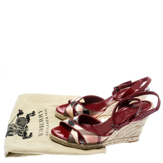 Burberry Patent Leather Canvas Espadrille Red Sandals Image 7