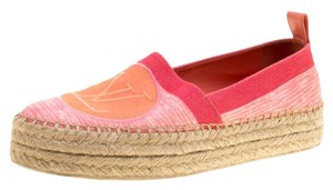 Louis Vuitton Denim Platform Leather Pink Flats