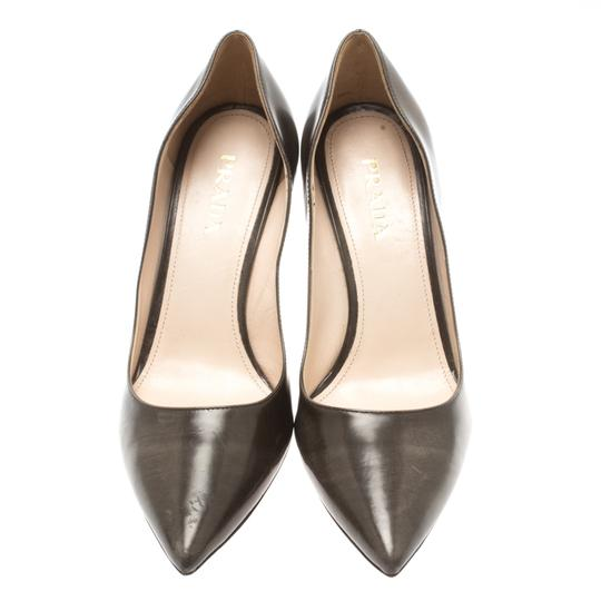 Prada Leather Pointed Toe Brown Pumps Image 2
