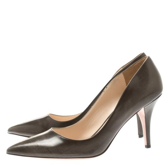 Prada Leather Pointed Toe Brown Pumps Image 3