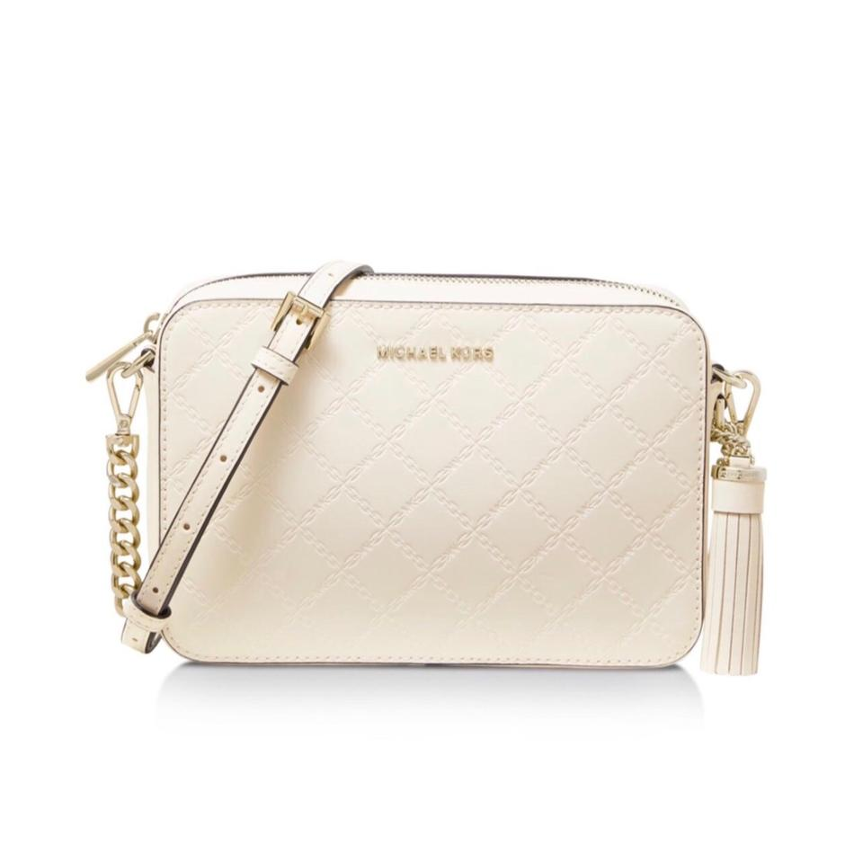 51994be281a6e3 MICHAEL Michael Kors Medium Camera Light Cream Leather Cross Body ...